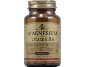 SOLGAR Magnesium + B6 100tabs, Συμπλήρωμα Διατροφής για την καταπολέμηση των ημικρανιών και την μείωση των κραμπών και στη μείωση των προεμμηνορυσιακών συμπτωμάτων