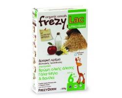 FREZYLAC Organic Cereals,Βιολογική κρέμα για βρέφη μετά τον 6ο μήνα ,Βρώμη Ολικής Άλεσης Γάλα - Μήλο Βανίλια 200g