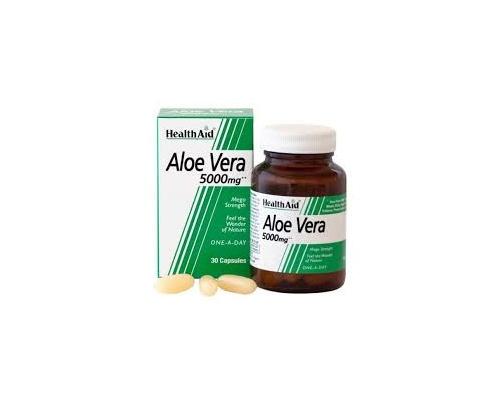 Health Aid ALOE VERA, ΑΛΟΗ ΒΕΡΑ 5000mg, Φυσικό αποτοξινωτικό, δίνει αρμονία ειδικά στο έντερο, αντανακλώντας φωτεινότητα στην εξωτερική εμφάνιση, 30 κάψουλες