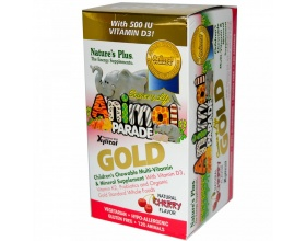 NATURE'S PLUS Animal Parade GOLD Συμπλήρωμα διατροφής με τη βιταμίνη D3, βιταμίνη Κ2, τα προβιοτικά με γεύση κεράσι 60 μασώμενα ζωάκια
