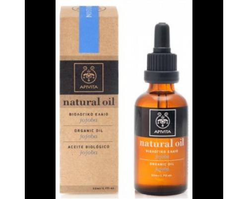 Apivita Natural Oil, Βιολογικό Έλαιο Jojoba πλούσιο σε πρωτεΐνες, μέταλλα και βιταμίνη Ε  50ml