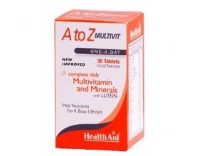 Health Aid A to Z MULTIVIT Πολυβιταμίνες με μέταλλα συμπλήρωμα διατροφής ιδανικό για εφήβους, μητέρες και αθλητές 30 ταμπλέτες