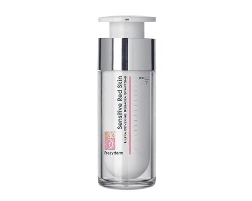 Frezyderm RED SKIN TINTED Spf 30,  Έγχρωμη κρέμα με υψηλή αντηλιακή προστασία, για κάθε τύπο δέρματος. Για επιδερμίδες με ροδόχρου νόσο,ευαίσθητες ή αντιδραστικέs 30ml