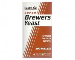 Health Aid Super Brewers Yeast Vitamin B Μαγιά 500 ταμπλέτες, Συμπλήρωμα Διατροφής για τη διατήρηση υγιούς επιδερμίδας, των οφθαλμών, των μαλλιών και της πεπτικής οδού.