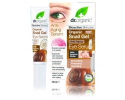 Dr. Organic Snail Gel Eye Serum 15ml,  Αντιγηραντικός ορός για τα μάτια με έκκριμα σαλιγκαριού που ενυδατώνει, προστατεύει και αναζωογονεί την επιδερμίδα
