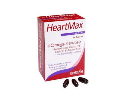 Health Aid HeartMax, Ωμέγα 3 - έλαιο σκόρδου - λεκιθίνη - αμινοξέα - λυκοπένιο, για τη διατήρηση της γενικής υγείας της καρδιάς και δυνατού κυκλοφορικού, 60 κάψουλες