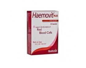 Health Aid Haemovit plus Συνδυασμός  Για υγιές αιμοποιητικό σύστημα περιέχει βιταμίνη Β12, σίδηρο, ψευδάργυρο, βιταμίνη C, φολικό οξύ 30 κάψουλες