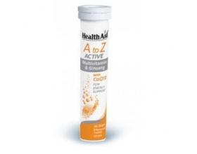 Health Aid Α to Z Active Multivitamins & Ginseng Πολυβιταμίνες με τζίνσενγκ 20 αναβράζουσες ταμπλέτες με γεύση tutti-frutti