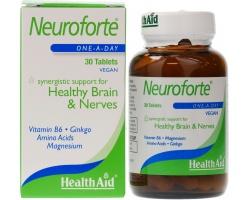 Health Aid NEUROFORTE, Yγιές νευρικό σύστημα & εγκέφαλος, καταπολεμά το στρες, την ανησυχία, τρέφει τα εγκεφαλικά κύτταρα και διατηρεί άριστη την ισορροπία τους, 30 ταμπλέτες