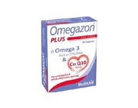 HealthAid Omegazon PLUS Ω3 & Co Q10, Συμπλήρωμα Ωμέγα 3 Λιπαρών Οξέων σε συνδυασμό με Συνένζυμο Q 10, για την καλή λειτουργία του Καρδιαγγειακού Συστήματος 30 κάψουλες