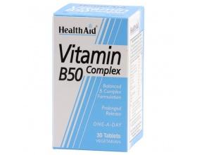 Health Aid Vitamin B 50 Complex 30 tablets, Συμπλήρωμα Διατροφής για το μεταβολισμό και την υγεία του νευρικού συστήματος