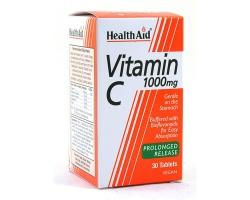 Health Aid Vitamin C 1000mg 30 tablets, Συμπλήρωμα Διατροφής που έχει αντιοξειδωτική δράση ενώ διατηρεί την υγεία των κυττάρων  και των αγγείων του αίματος