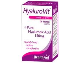 Health Aid HyaluroVit hyaluronic acid  150mg Υαλουρονικό οξύ για νεανικό & λαμπερό δέρμα 30 ταμπλέτες