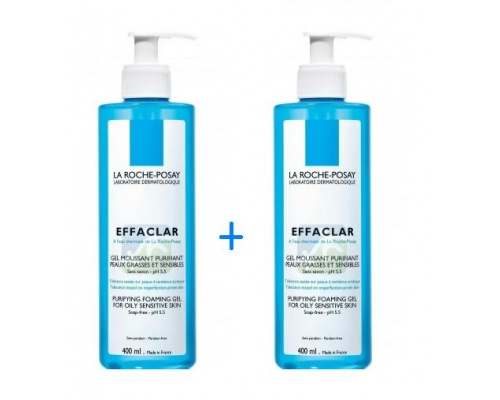 LA ROCHE-POSAY Effaclar Gel Ζελ καθαρισμού για λιπαρή και ευαίσθητη επιδερμίδα 2x400ml