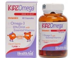 Health Aid Kidz Omega Μασώμενη πολυβιταμίνη Ειδική σύνθεση για παιδιά με Omega 3 & βιταμίνες A ,D & E 60 κάψουλες