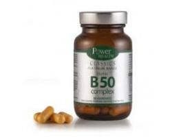 Power Health CLASSICS Platinum Range Vitamin B50 Complex, Συμπλήρωμα Διατροφής με Βιταμίνες του συμπλέγματος Β, για στήριξη του νευρικού συστήματος, για Υγιές δέρμα, μαλλιά & νύχια, 30 δισκία