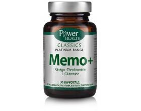 Power Health Classics Platinum MEMO+, w/ Ginkgo, L-Glutamine & Theobromine, Συμπλήρωμα διατροφής για την βελτίωση της μνήμης, της συγκέντρωσης & της νοητικής απόδοσης. Κατάλληλο για ηλικές άνω των 50 ετών, 30 caps