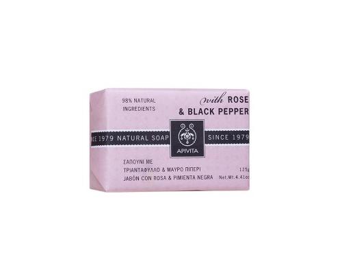 APIVITA Natural Soap Φυσικό Σαπούνι με Τριαντάφυλλο & Μαύρο Πιπέρι 125g