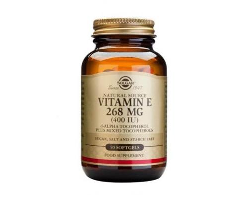 SOLGAR VITAMIN E 268mg 400IU Συμπλήρωμα διατροφής με βιταμίνη Ε με ισχυρή αντιοξειδωτική δράση 50 μαλακές κάψουλες