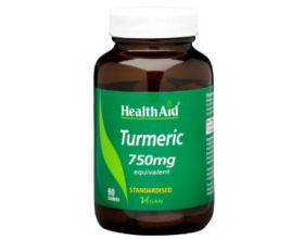 Health Aid TURMERIC 750 mg Ισχυρό αντιοξειδωτικό αντιφλεγμονώδες από Κουρκουμά Βοηθά στην καταπολέμηση των φλεγμονών, την πέψη & στις χολικές εκκρίσεις, 60 ταμπλέτες