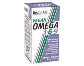 Health Aid Vegan Omega 3-6-9 Συμπλήρωμα διατροφής που συμβάλλουν στην υγεία της καρδιάς, του κυκλοφορικού, του εγκεφάλου και της επιδερμίδας 60 κάψουλες