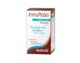 Health Aid Immuprobio 50billions Συμπλήρωμα Διατροφής 30caps. Υπερσυνδυασμός με 50 δισεκατομμύρια από 10 προβιοτικά μαζί με πρεβιοτικά για χρόνιες και σοβαρές διαταραχές του εντέρου.