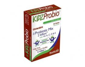 Health Aid KIDZ Probio, Για τη διάρροια, σε περιπτώσεις δυσανεξίας στη λακτόζη και σε περιπτώσεις πτωχής διατροφής γιατί βοηθά στην απορρόφηση των θρεπτικών συστατικών 30 μασώμενες ταμπλέτες