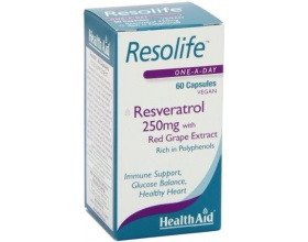 Health Aid Resolife, Resveratrol 250mg, Ευεργετική για την προστασία του καρδιαγγειακού, 60 caps