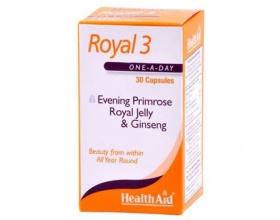 Health Aid ROYAL 3 Royal Jelly, Evening Primrose Oil & Ginseng,  Απαραίτητο για πολλές λειτουργίες όπως στο κυκλοφορικό, στο μεταβολισμό, στο αναπαραγωγικό 30 κάψουλες