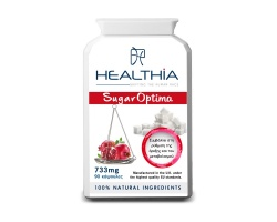 Healthia  Sugar Optima 733mg  συμβάλλει στην προσπάθεια ρύθμισης του σακχάρου του αίματος 90caps