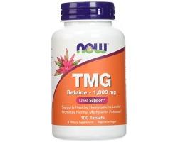 Now Foods TMG 1000mg Αποτοξινωτικό Συμπλήρωμα Διατροφής,  συμβάλει στο Μεταβολισμό των Λιπαρών Οξέων, στην Αποτοξίνωση του Ήπατος & στην Καλή Καρδιαγγειακή Υγεία 100 tabs