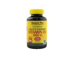 Nature's Plus Adult's Chewable Vitamin D3 1000 IU 90 tabs, Βοηθάει τον οργανισμό να απορροφήσει καλύτερα το ασβέστιο και τον φώσφορο και έτσι μειώνει τον κίνδυνο για οστεοπόρωση