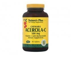 Nature's Plus Acerola-C Complex 500 mg 90 chewable tabs, Συμπλήρωμα Διατροφής που ενισχύει το ανοσοποιητικό και βοηθάει να αντιμετωπιστούν οι αλλεργίες, κρυολογήματα και οι έρπεις