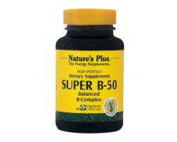 Nature's Plus Super B 50 60 Vcaps, Συμπλήρωμα Διατροφής για την καλή υγεία των νεύρων, του δέρματος, των μαλλιών και του ανοσοποιητικού