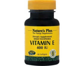 Nature's Plus Vitamin E 400 IU mixed Tocopherol 60 softgels, Συμπλήρωμα Διατροφής που επιβραδύνει τη γήρανση και προλαμβάνει τις δερματικές κηλίδες των ηλικιωμένων, ενώ παράλληλα διεγείρει το ανοσοποιητικό σύστημα