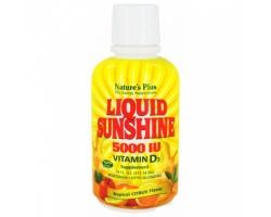 Nature's Plus Liquid Sunshine 5000 IU Vitamin D3 473 ml, Βοηθά στην καλύτερη απορρόφηση του ασβεστίου και στην υποστήριξη της υγιούς οστικής πυκνότητας