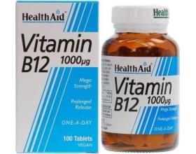 Health Aid VITAMIN B12 1000mg, Συμπλήρωμα Διατροφής ποθ Βοηθά στην ανανέωση υγιών ερυθρών αιμοσφαιρίων και στη καλή λειτουργία του νευρικού συστήματος,50tbs