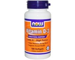 Now Foods Vitamin D3-1000 IU, 180 softgels, Συμπλήρωμα Διατροφής με βιταμίνη D3 απαραίτητη για την ανάπτυξη και τη συντήρηση των οστών και της οστικής πυκνότητας