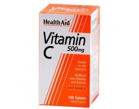 Health Aid VITAMIN C 500mg - Βιταμίνη C μασώμενη με γεύση πορτοκάλι 100 ταμπλέτες