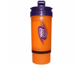Now Foods 3 in 1 Sports Shaker Bottle, shaker για ανάμιξη πρωτείνης με θήκη και για χαπια και κάψουλες, 1 μπουκάλι