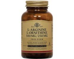 Solgar L-Arginine L-Ornithine 500/250mg Συνδυασμός αμινοξέων ιδανικός για αθλητές, 50caps
