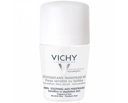 VICHY DÉODORANTS Roll-on Antiperspirant, Καταπραϋντικό αποσμητικό για 48 ώρες 50ml