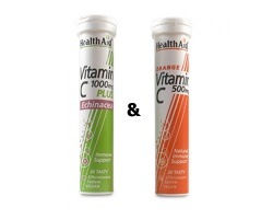 HealthAid Vitamin C 1000mg Plus Echinacea 20 Αναβράζοντα Δισκία & Vitamin C 500mg 20 Αναβράζοντα