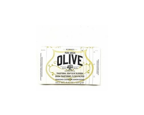 Korres, Pure Greek Olive, Tradional Soap Olive Blossom, Παραδοσιακό Πράσινο Σαπούνι με Άνθη Ελιάς, 125gr