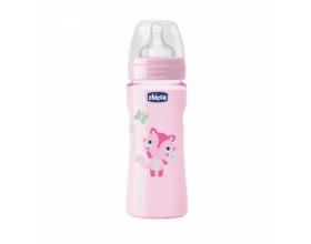 "Chicco Well Being Bottle 4m+ Πλαστικό Μπιμπερό κατά των Κολικών με Θηλή Σιλικόνης ""Σαν τη Μαμά"", Ροζ Χρώμα, 330ml"
