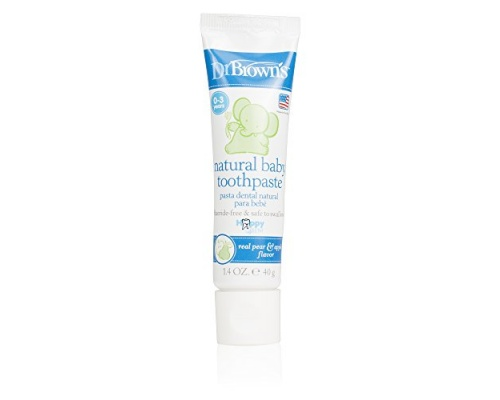 Dr. Brown's HG025 Natural Baby Toothpaste Βρεφική Οδοντόκρεμα χωρίς Φθόριο με Γεύση Αχλάδι & Μήλο, 40gr