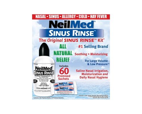 NeilMed SINUS RINSE Σύστημα ρινικών πλύσεων για ενήλικες περιέχει 1 συσκεύη 14.400 ml+ 60 φακελάκια  (14.4lt)