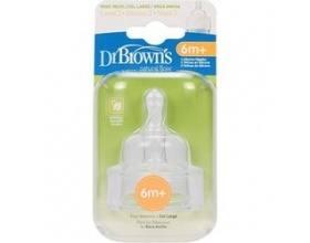 Dr. Brown's Θηλές 332 για Μπιμπερό με στενό λαιμό για βρέφη 6 μηνών και άνω, 2 τεμάχια