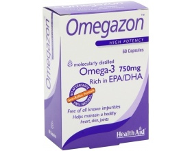Health Aid Omegazon Ωμέγα 3 (750mg) Ιχθυέλαιο 60 κάψουλες, Συμπλήρωμα διατροφής που συμβάλλει στην καλή λειτουργία της καρδιάς, του κυκλοφορικού και στον έλεγχο της χοληστερίνης