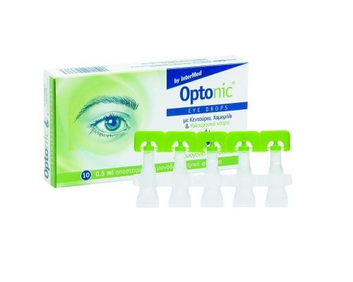 Intermed Optonic Drops Οφθαλμικές Σταγόνες με Υαλουρονικό Οξύ για Ενυδάτωση των Ματιών , 10 αμπούλες μίας χρήσης